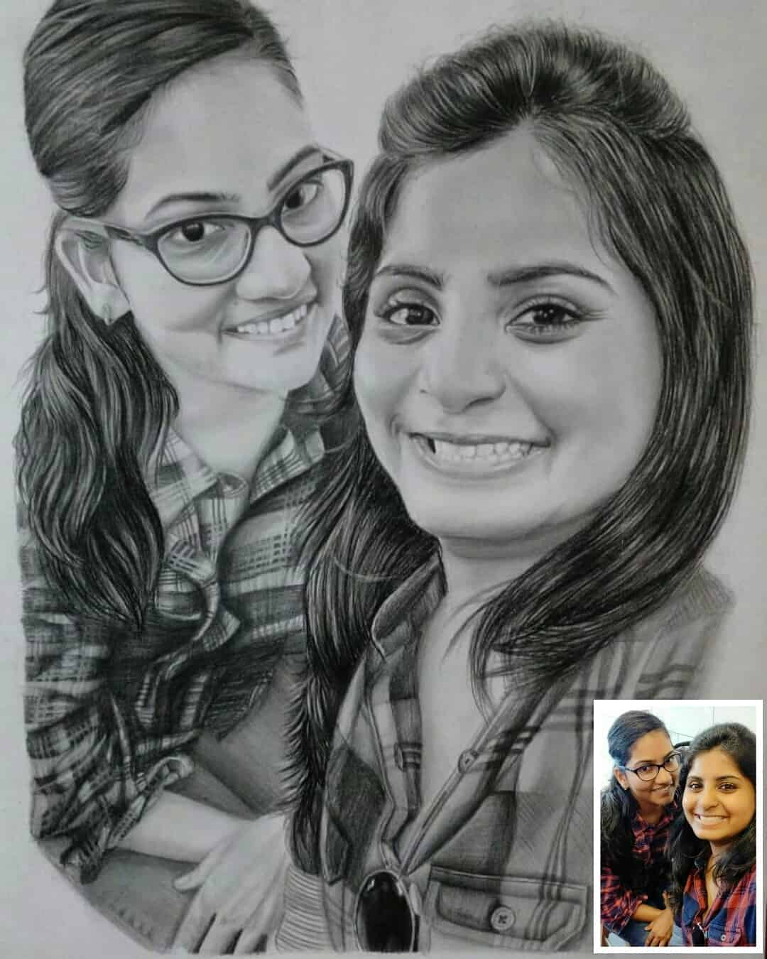 Couple Pencil Drawing | Photo to Painting | Custom ...
