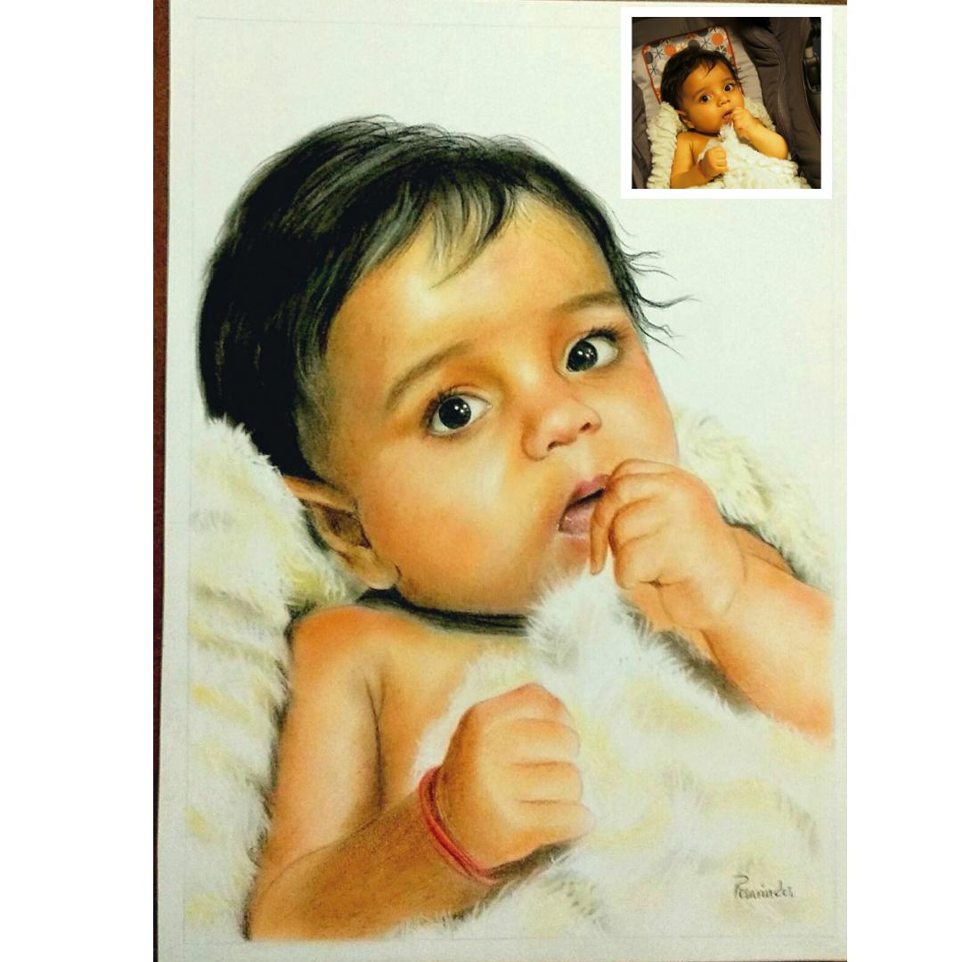 Handmade Baby Oil Portrait as best anniversary gift for him