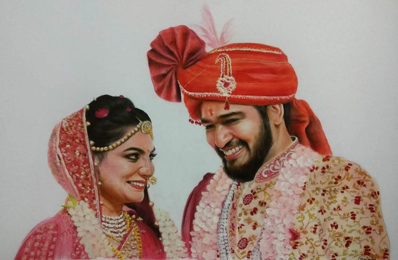Hand-painted Wedding Portrait Valentine's Day Gift for Wife)