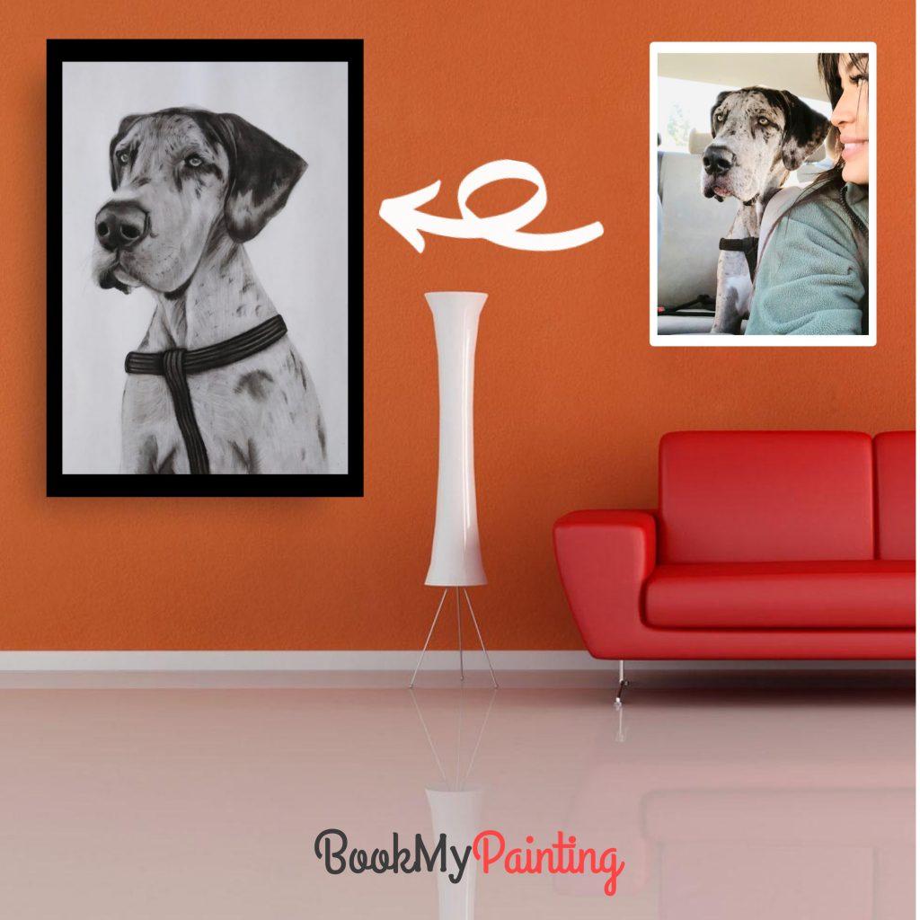 Classic Charcoal Portrait as living room decoration