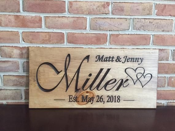 Wedding Date Carved Wooden Sign (Wedding Gifts)
