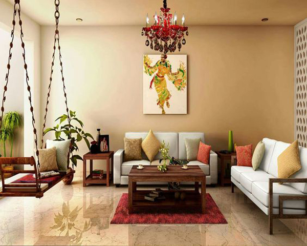 Contemporary Indian Wooden Swing as living room decoration