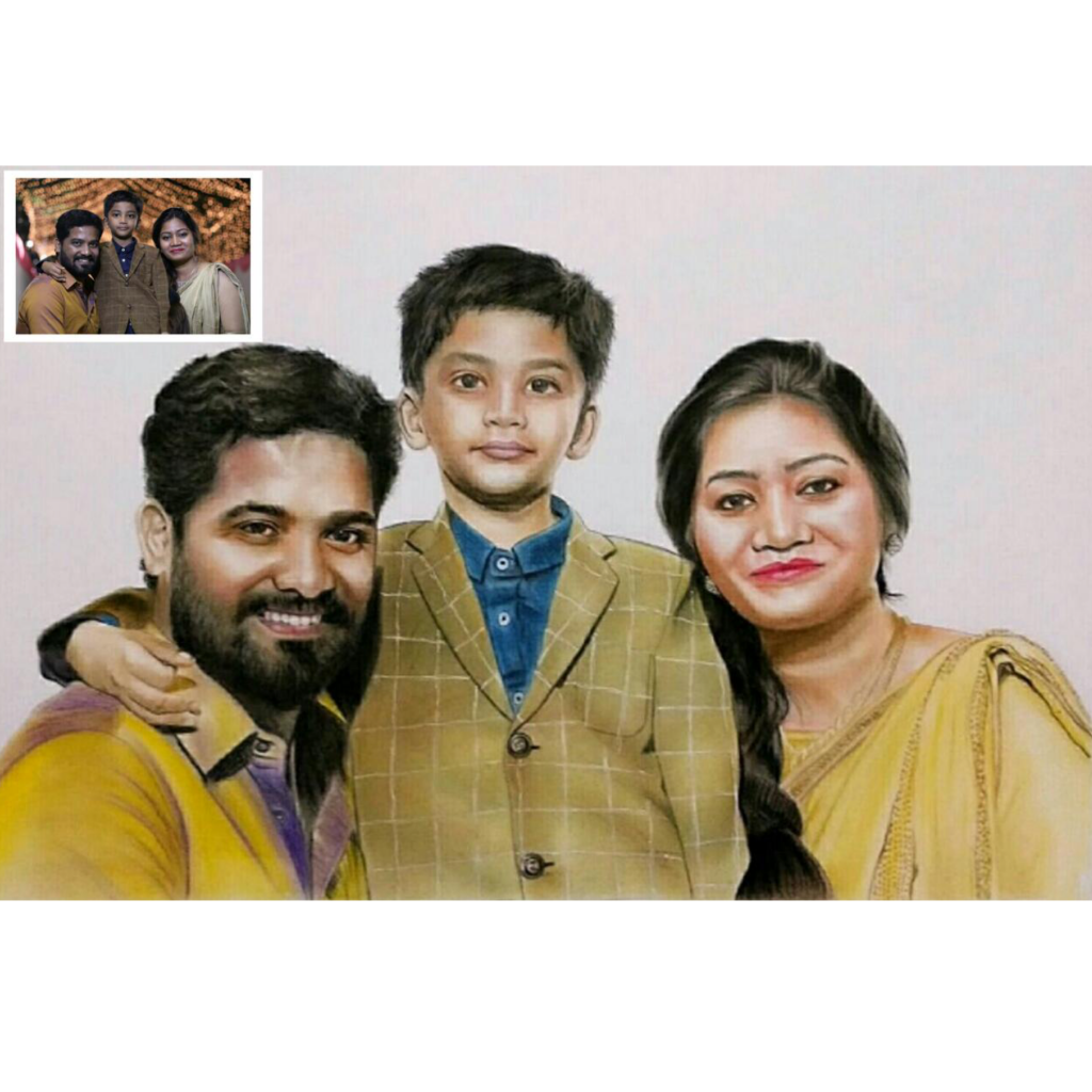 Family Pencil Colour Drawing (Women's Day Gifts)